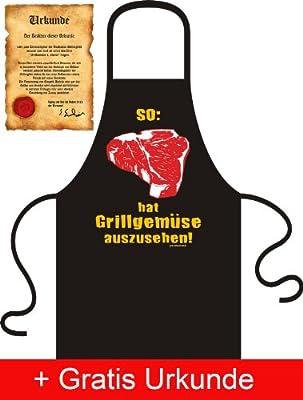 Lustige Grillschürze mit Urkunde: So hat Grillgemüse auszusehen! (Schürzenfarbe: Schwarz)