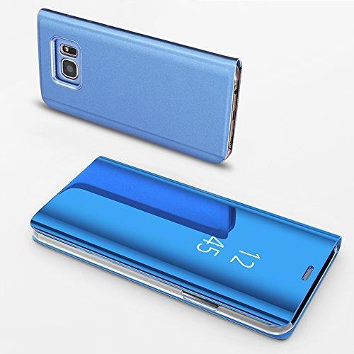 Coque Samsung Galaxy S7 Edge Miroir Slynmax Housse S7 Edge Clear View Etui à Rabat Cover Flip Case Etui Housse Translucide Support Miroir Antichoc Téléphone Bleu en PC et Cuir Samsung Galaxy S7 Edge