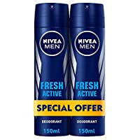 NIVEA, MEN, Deodorant, Fresh Active, Spray, 2 x 150 ml