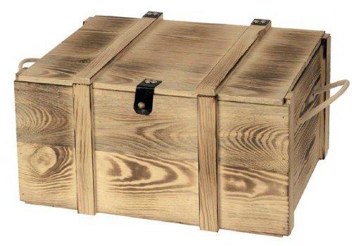 visuals Holzkiste geflammt für 6 Flaschen - mit Lederscharnier und Hanfseilgriff - Maße 365 x 260 x 190 mm - VE : 1
