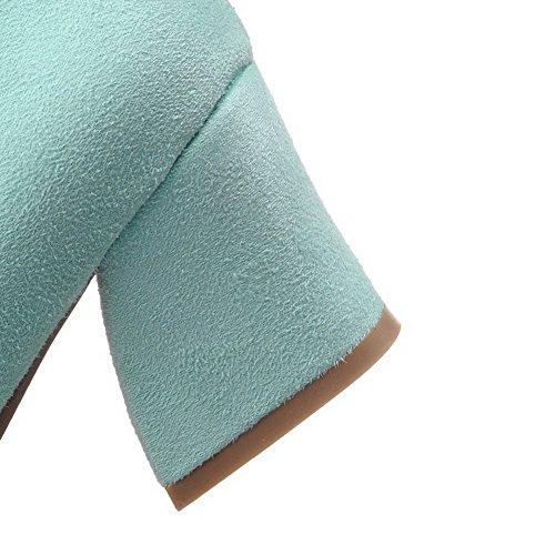 VogueZone009 Femme à Talon Correct Couleur Unie Tire Dépolissement Carré Chaussures Légeres Bleu
