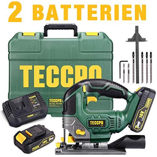 Akku Stichsäge, TECCPO 18V 2x2000mAh Batterien, 30 Minuten Schnellladegerät 4.0Ah, LED, Hubhöhe 22mm, Maximaler Schnittwinkel 45 °, Sechs Sägeblätter, Handkoffer- TDJA22P