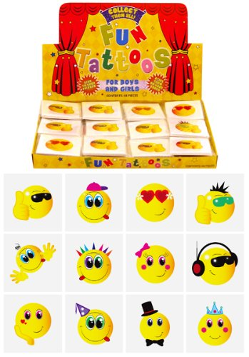 12 Mini Smiley Face Temporary Tattoos Boys Girls Party Bag & Stocking Fillers by Party Accessories -