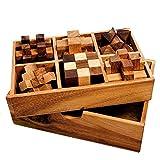 Gadget Storm – 6er Set Knobelspiele für Erwachsene – Geduldsspiele aus Holz – 3D Holzpuzzle – Knobel Würfel – IQ Puzzle – Logikspiele – Reisespiele für Kinder – Geschenk-Box – Zauberwürfel – Denkspiel