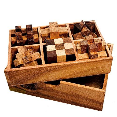 Gadget Storm - 6er Set Knobelspiele für Erwachsene - Geduldsspiele aus Holz - 3D Holzpuzzle - Knobel Würfel - IQ Puzzle - Logikspiele - Reisespiele für Kinder - Geschenk-Box - Zauberwürfel - Denkspiel