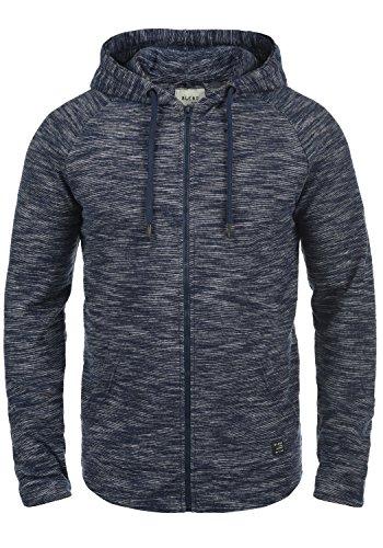 BLEND Juno Herren Sweatjacke Kapuzen-Jacke Zip-Hood aus 100% Baumwolle Meliert, Größe:XXL, Farbe:Navy (70230) (Jacke Baumwolle)