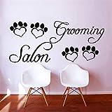 Grooming Salon Vinyl Wandtattoo Pet Salon Pfote Zitat Grooming Salon Wandbild Kunst Wandaufkleber Pet Shop Dekorative Dekoration weiß 74x175 cm