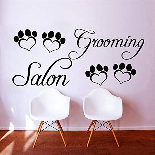 Grooming Salon Vinyl Wandtattoo Pet Salon Pfote Zitat Grooming Salon Wandbild Kunst Wandaufkleber Pet Shop Dekorative Dekoration gelb 40x95 cm (Butterfly My Pet)