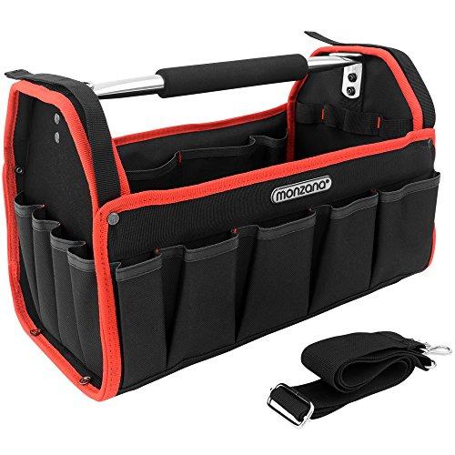 Monzana Werkzeugtasche XL | 42cm | inkl. Schultergurt | stabile Tragestange - Montagetasche Werkzeugbox Werkzeugkasten