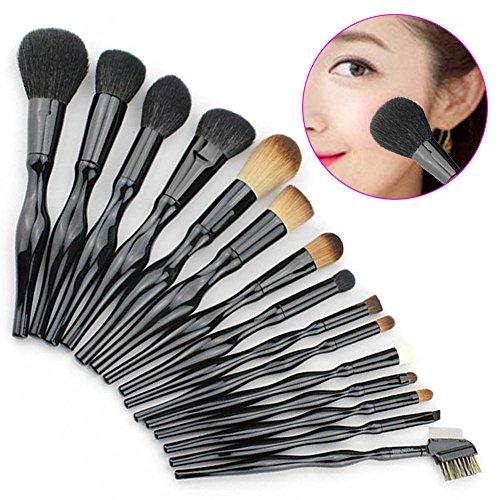 Hrph 15pcs Mode Professionnels Pinceaux Courbes de Maquillage Set Fondation Blush Poudre Eyeliner Brush