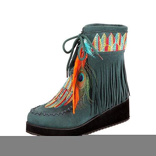 VogueZone009 Damen Mittler Absatz Niedrig-Spitze Gemischte Farbe Stiefel mit Fransig Dunkelgrün