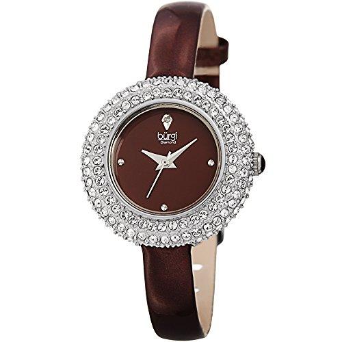 Burgi Femme Bur195bur Cristal de Swarovski et argent de diamant et bracelet cuir Bordeaux montre