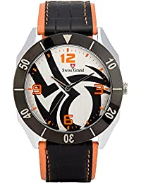 Swiss Grand SG-1157 Orange Coloured With Orange Leather Strap Analog Quartz Watch For Men