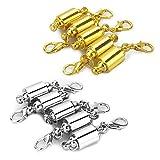 LolliBeads (TM) Kristall Shamballa Stil Pavé Kugel Strass Bling Magnet Perlen, Schließe für armband Halskette Schmuck, metall, Silver/Gold_8mm, 8 mm