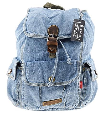 SAIERLONG Frauen und Mädchen Rucksack Schultasche Reisetasche Blau