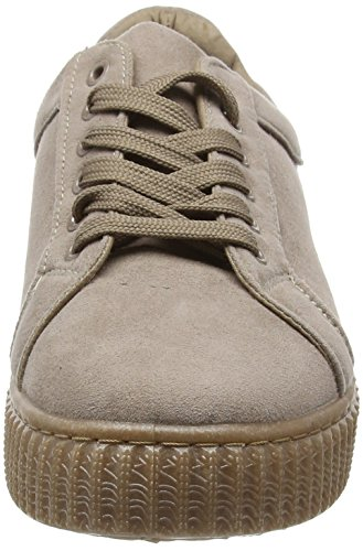 Boohoo Rose Lace Up Chunky Sole Trainer, Baskets Basses Femme Beige (Stone)
