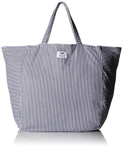 Roxy Canvas Tote (Roxy Damen Striped Tote Bag Time is Now, gestreifte Canvas-Tragetasche, Dress Blue Cornfield Stripe, Einheitsgröße)