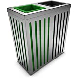 poubelledirect basura reciclaje acero inoxidable 90litros), cuerpo: acero inoxidable, 2cubos interiores: verde, antracita–Orion 2x 90/100L