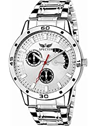 Spectre Analog Day And Date White Dial Alloy Stainless Steel Belt Premium Wrist Watch For Men And Boys