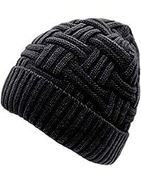 Bonnet Hiver Homme Femme Chapeau Tricot Chaud Simple Noir Brun 44bc578e1c5
