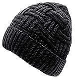 Bonnet Hiver Chapeau en Laine Tricot Chaud pour Homme Femme Simple Noir Brun
