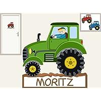 Türschild Traktor I. personalisierbarer Aufkleber Wandtattoo für Kinderzimmer