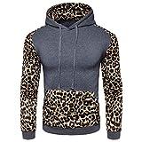 Kanpola Herren Kapuzenpullover Mode Männer Herbst Winter Leopard Druck Langarm Shirt Kapuzen Hoodie Sweatshirt Sweatjacke Sport Pullover