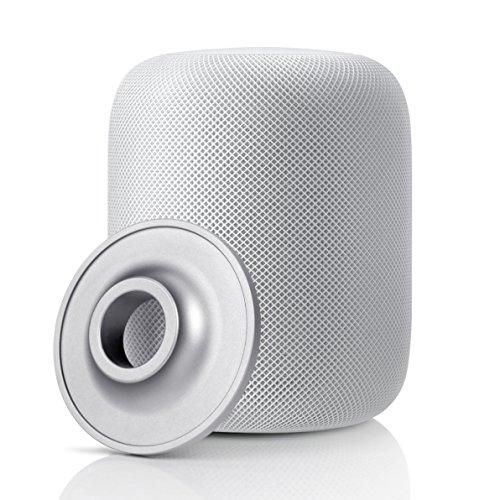 YuStar Standfuß für Apple HomePod, Edelstahl, Anti-Rutsch Base Halter Ständer für HomePod Lautsprecher-silber (Lautsprecher Verstärkung Zur)