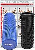 POWRX MassageRolle gerillt Schwarz & yogarolle Eva 45 cm inkl. Workout