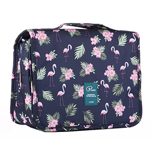 Gtrip Travel Toiletry Bags - Cosmetic Organizer with Multi Pockets & High Quality Zippers, Hanging Toiletry Bag Makeups Shaving & Personal Care for Man Woman & Kids (Flamingo Pattern)