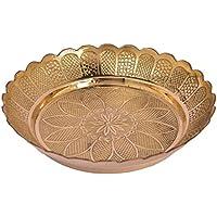 Ottone puro fiore di metallo della piastra Design n. 13 in arte decorativa da Bharat Haat BH04952