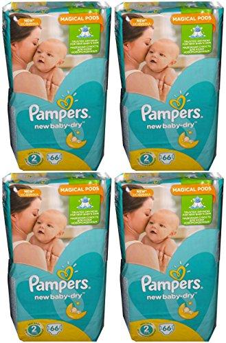 264 (4x66) Pampers Windeln New Baby-Dry Gr. 2, 3-6 Kg, Baumwolle weich