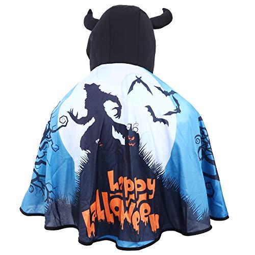 Amosfun Halloween Umhang Wild Wolf Happy Halloween Bedruckter Umhang mit Horn Hut Party Kleid Kostüm Cosplay Karneval Schal für Kinder Frauen - Erstellen Sie Ein Wolf Kostüm