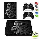Xbox One X Skin Sticker, Morbuy Designfolie Vinyl-Folie Aufkleber für Konsole + 2 Controller Aufkleber Schutzfolie Set +10 pc Silikon Thumb Grips (Viele Skelette)