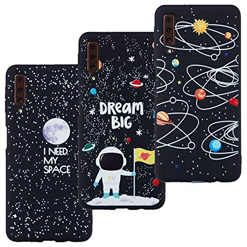 LeviDo 3X Cover Samsung Galaxy A7 2018 Silicone Morbida Nero Gomma Bumper Case per Samsung A7 2018 Belle TPU Gel Paraurti Protettiva Antiurto, I Need My Space-Dream Big-Via Lattea