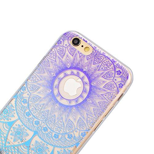 iPhone 6/6S(4.7) Cover Trasparente con Disegni, SMARTLEGEND Morbido Silicone TPU Gradient Custodia con Mandala Design per Ragazza e Donna, UltraSlim Gomma Protettiva Flessibile Soft Back Case Antigra Blu