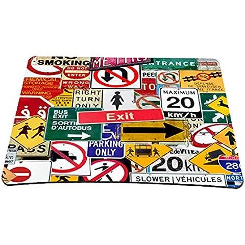 ToLuLu® dimensioni regolari (21,59 cm x 17,78 cm) Mouse Pad tappetino per il mouse da tuta per Mouse Laser ottico, segnali stradali