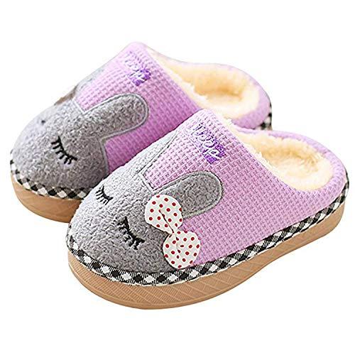 SITAILE Jungen Mädchen Winter Pantoffeln Slippers Schuhe mit Plüsch gefüttert Wärme Weiche Rutschfeste Hausschuhe Für Kinder Baby 01- lila 26-27