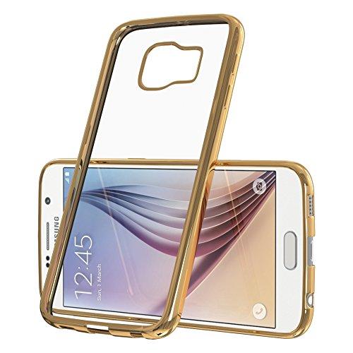 Samsung Galaxy A7 Hülle - EAZY CASE Chrom Cover Handyhülle - Schutzhülle aus Silikon in Metallic Gold Gold