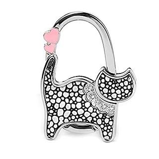ALLtree Rhinestone Cat Table Bag Handbag Purse Hook Hanger Holder (Black + Silver Dots)