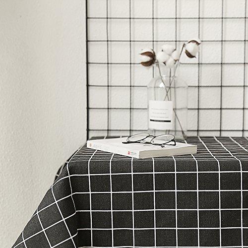 YANNI Nordic Minimalist Baumwolle und Leinen Tischdecke, Schwarz und Weiß Gestreift Grid Vielseitig Tischdecke, Schwarz, 140x240 (Leinen-schwarz Tischdecke)