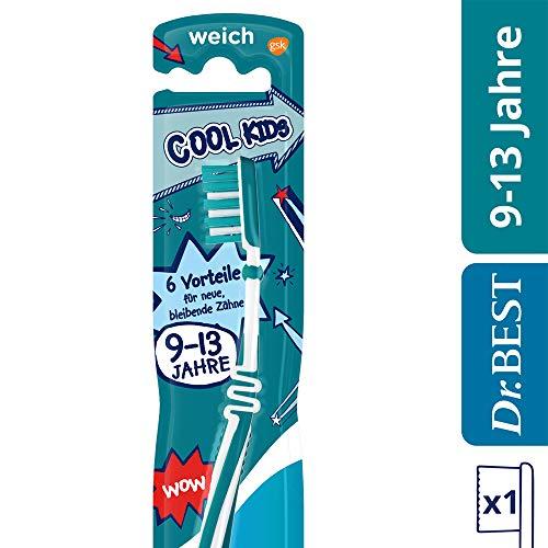 Dr.BEST Cool Kids Zahnbürste, Weich (1 Stück),  6 Vorteile für neue, bleibende Zähne