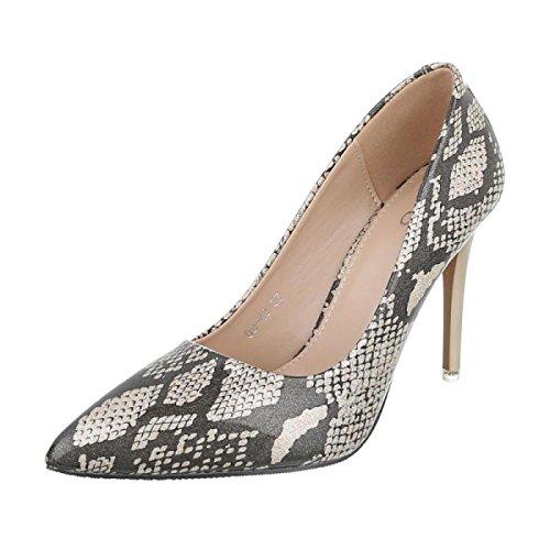 Cingant Woman Damen Pumps/Stilettoabsatz/High Heels/Damenschuhe/Elegante Schuhe/Schlangenmuster/Khaki/Braun, EU 37