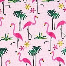 Tela rosa flamenco palmera ave animal de Timeless Treasures EE. UU.