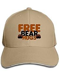 Free Hugs Bear Fashion Boy Girl Unisex Adjustable Sandwich Baseball Cap Red
