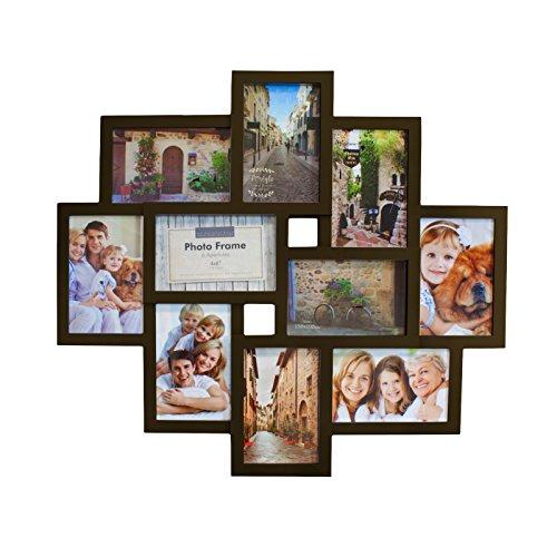 Smartfox Bilderrahmen Fotorahmen Collage für 10 Bilder im Format 10x15 cm in Braun