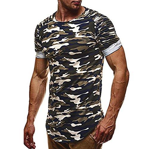 ❤️Tops Blouse Homme T-shirt, Amlaiworld Personnalité Tops Camouflage hommes Chemise à manches courtes Casual Slim Blouse Boxer Boxer (L2, Vert)