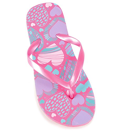 Girls Heart Print Flip Flop