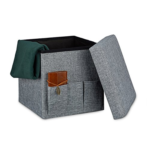 Relaxdays Faltbarer Sitzhocker 38 x 38 x 38 cm stabiler Sitzcube mit 3 Seitentaschen Sitzwürfel aus Leinen Sitzbank als Aufbewahrungsbox mit Stauraum und Deckel zum Abnehmen für Wohnraum, grau