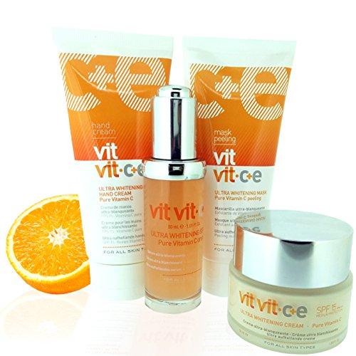 VIT VIT c + e ULTRA Bleichmittelkrem – die Komplet Behandlung wirkt 24 Stunden (Serum + Gesichtscreme + Maske + Handcreme) mit maximalen Anteil an C Vitamin - Made in Europe